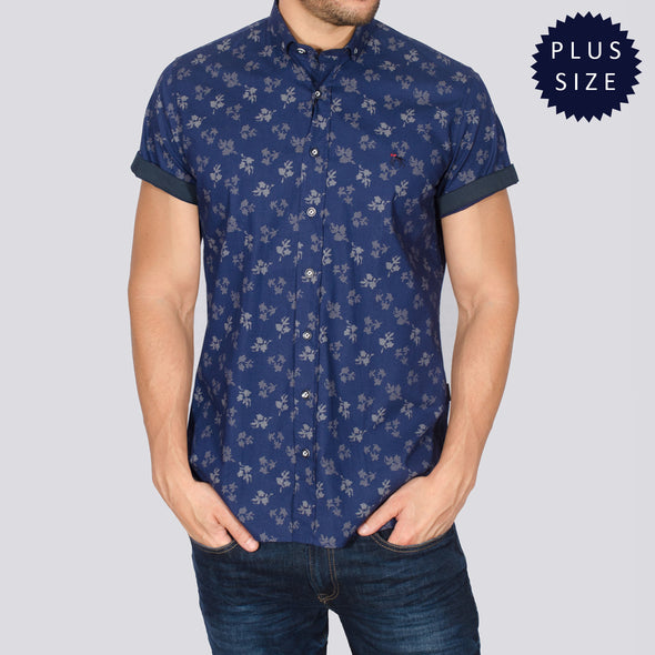 Plus Size Floral Short Sleeve Shirt - SMAC - Navy