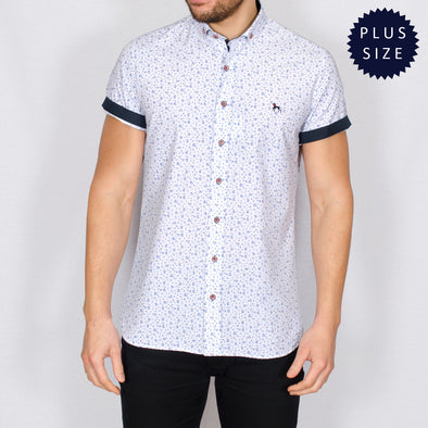 Plus Size White Ditsy Short Sleeve Shirt - SMATARO - White