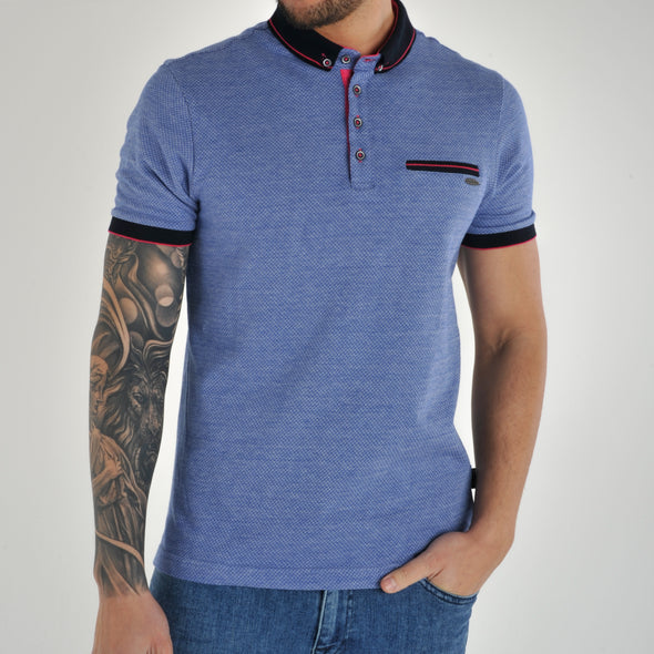 Knitted Collar Polo Shirt - SOLLAR - Blue