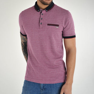 Knitted Collar Polo Shirt - SOLLAR - Pink