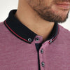 Plus Size Knitted Collar Polo Shirt - SOLLARS - Pink