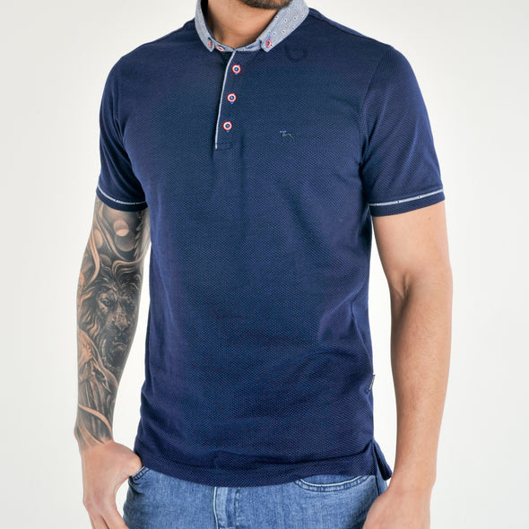 Plus Size Blue Dot Polo Shirt - SONET-S -