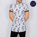 Plus Size Floral Short Sleeve Shirt - SRAME - Sky