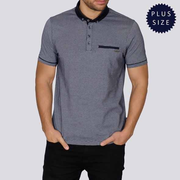 Plus Size Jacquard Polo Shirt - STEVEZ - Navy