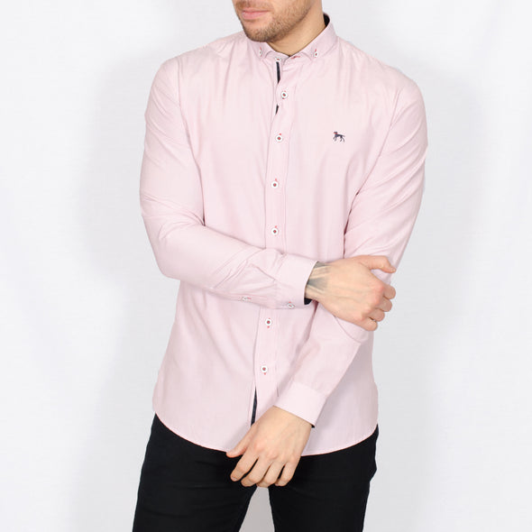 Slim Fit Pinstripe Long Sleeve Shirt - SUN - White