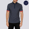 Plus Size Patterned Polo Shirt - SWAK - Navy
