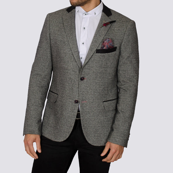 Stretch Herringbone Blazer - TAURUS - Grey