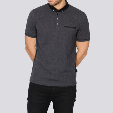 Jacquard Polo Shirt - TEVEZ - Charcoal