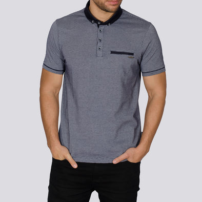 Jacquard Polo Shirt - TEVEZ - Navy