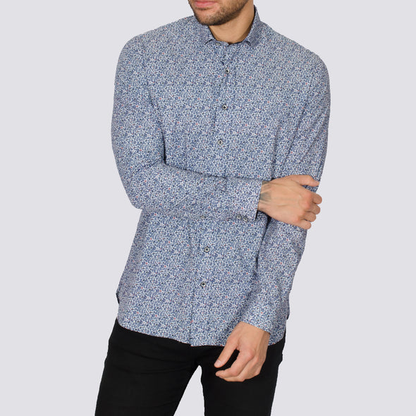 Slim Fit Floral Print Long Sleeve Shirt - UM - White