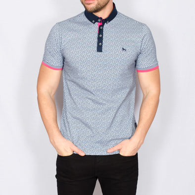 Digital Print Polo Shirt - VESPER - White