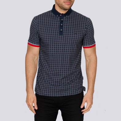 Patterned Polo Shirt - WAK - Navy