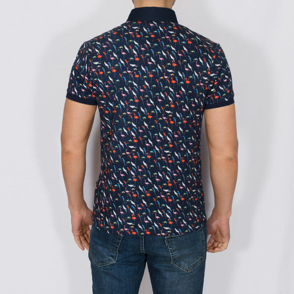 Bird Print Polo Shirt - WENO - Navy