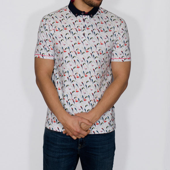 Bird Print Polo Shirt - WENO - White