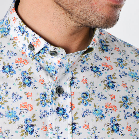 Slim Fit Floral Print Short Sleeve Shirt - WISCON - White