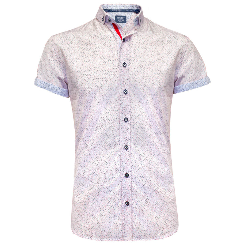 Wisdom white printed short sleeved shirt Bewley and Ritch