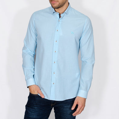 Slim Fit Microdot Long Sleeve Shirt - YEATES - Turquoise