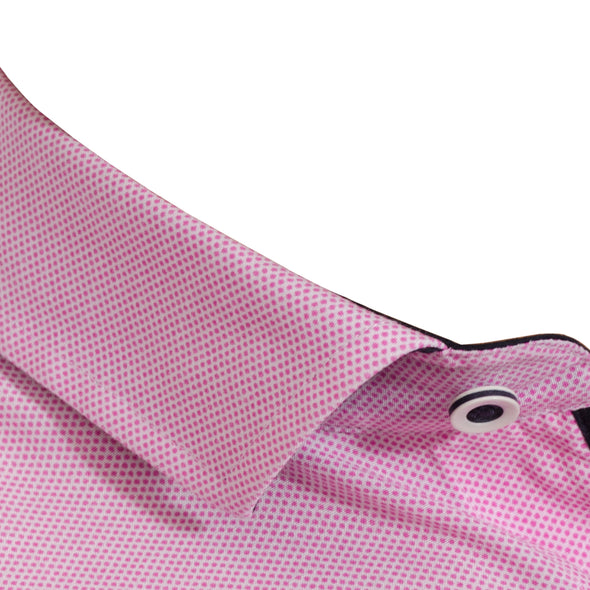Slim Fit Microdot Long Sleeve Shirt - YEATES - Hot Pink