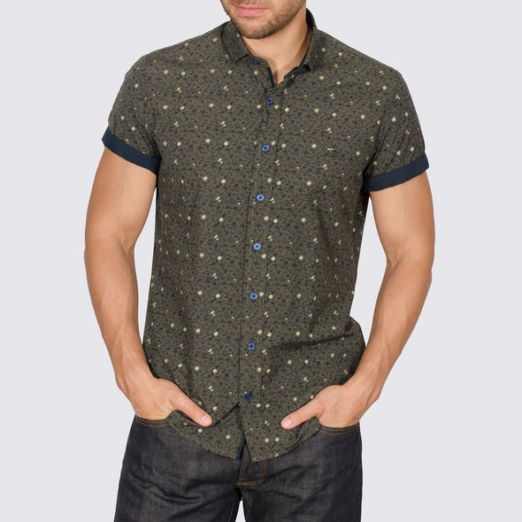 Slim Fit Floral Short Sleeve Shirt - YOU - Khaki