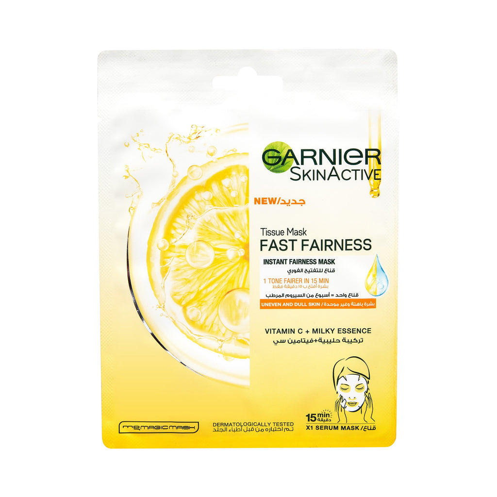 Garnier Fast Fairness For uneven & Dull Skin Tissue Mask
