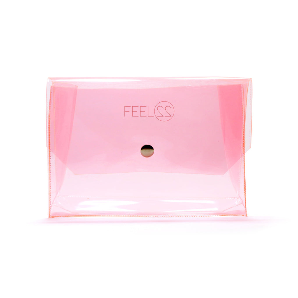 Feel22 Transparent Pink Makeup Pouch