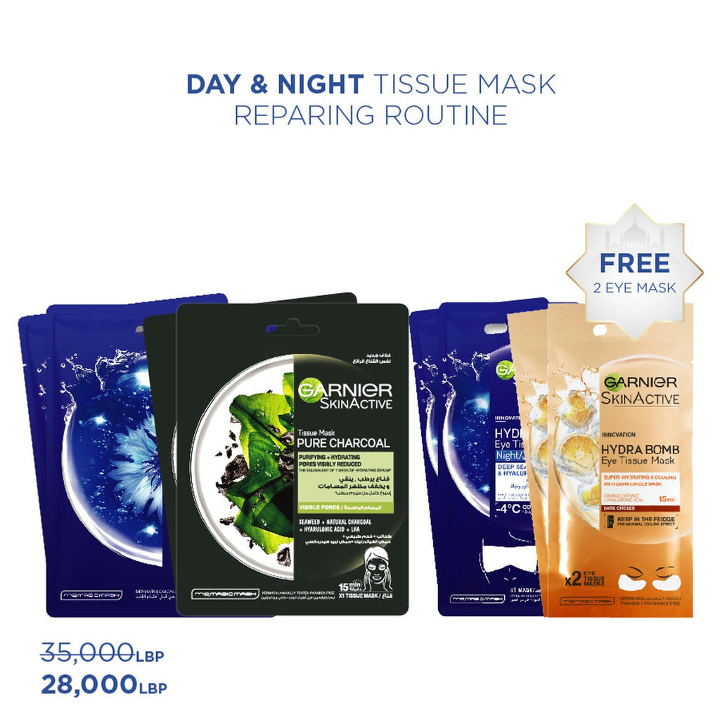 Garnier Day & Night Repair Routine + 2 Free Eye Tissue Mask