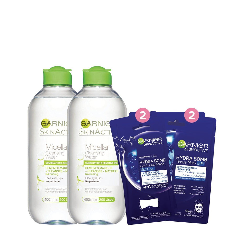 Garnier Micellar Water Anniversary Offer: 2 400ml & Night Face & Eye Mask 13% Off