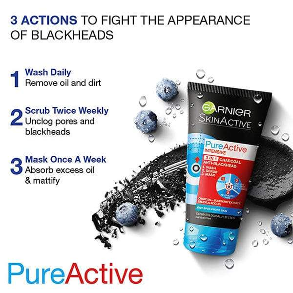 Garnier Pure Active 3-in-1 Charcoal Anti-Blackhead - Mask, Wash & Scrub