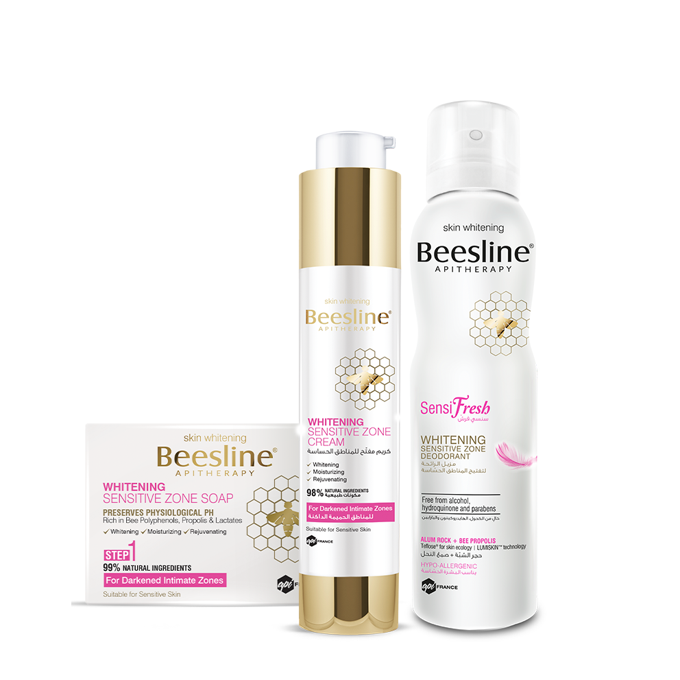 Beesline Whitening Sensitive Zone Routine: Soap + Cream + Sensifresh Spray Bundle