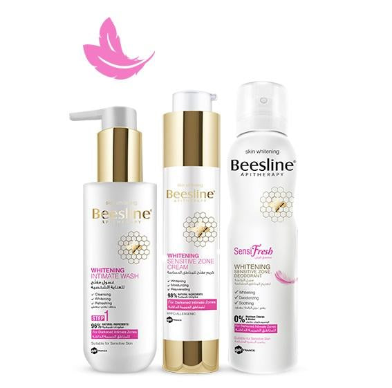 Beesline Whitening Sensitive Zone Routine: Wash + Cream + Sensifresh Spray Bundle