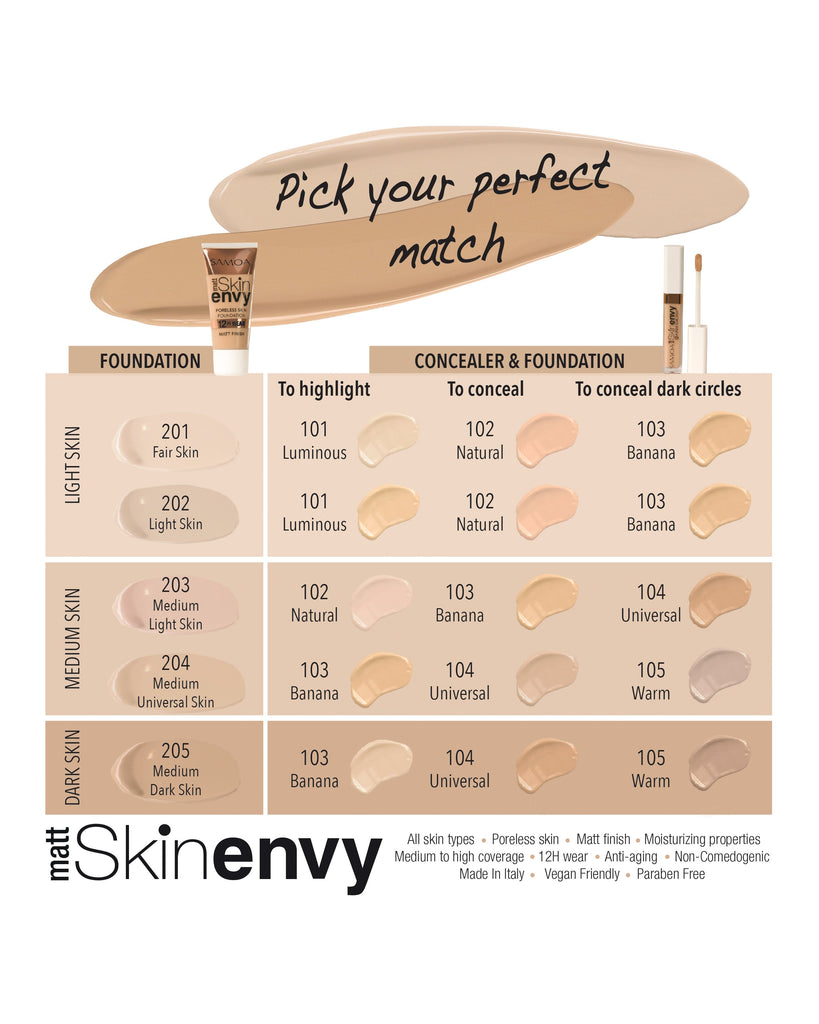 Samoa Skin Envy Matte Poreless Skin 12hr Wear Foundation