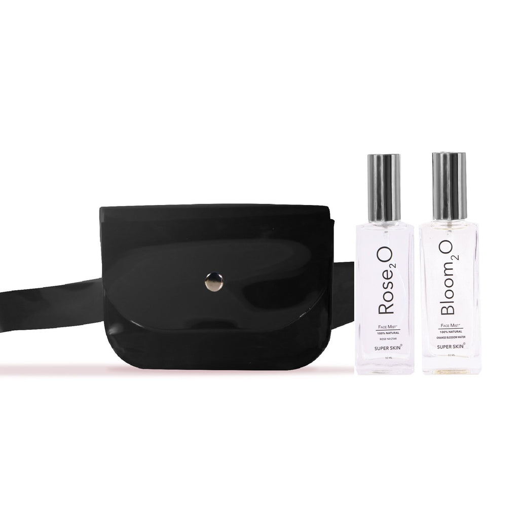 Super Skin On The Run Bundle: Rose₂O Face Mist 50ml + Bloom₂O Face Mist 50ml + Belt Bag