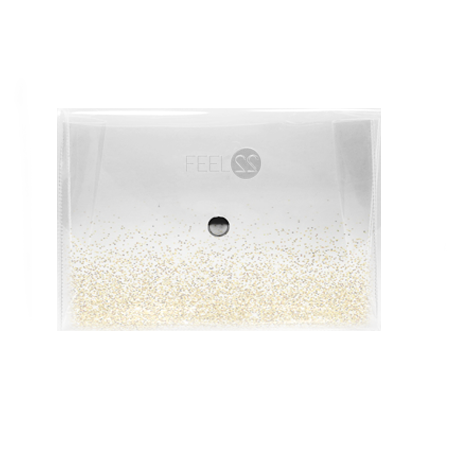 Feel22 Transparent Gold Glitter Water Pouch - Large