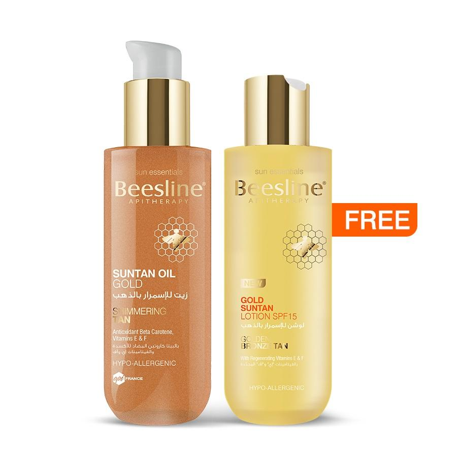 Beesline Suntan Oil Gold 200ml + Free Gold Suntan Lotion SPF15