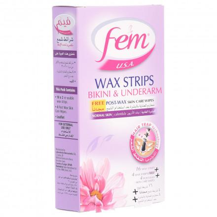 Fem Blossom Bikini & Underarms Wax Strips - Normal Skin 20 Sheets