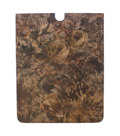 Brown Floral Logo Leather iPAD Tablet eBook Cover