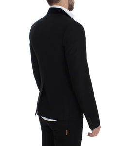 Black wool stretch slim fit blazer