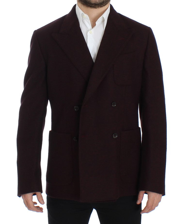 Bordeaux double breasted wool blazer
