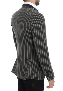 Gray striped slim fit blazer