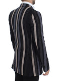 Multicolor striped wool slim blazer