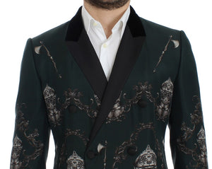 Green silk knight slim fit blazer