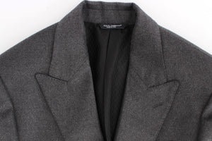 Gray silk two button blazer
