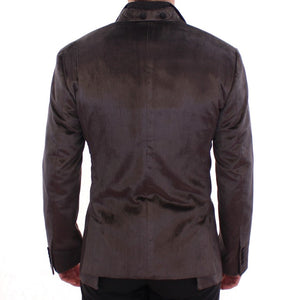 Gray silk slim fit blazer