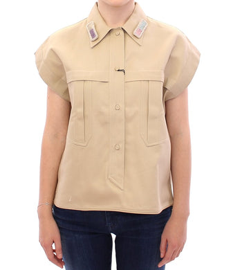 Beige Sleeveless Blouse Top
