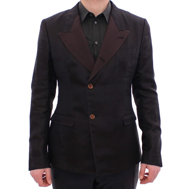 Brown silk slim fit blazer