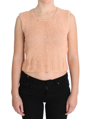 Pink Cotton Blend Knitted Sleeveless Sweater