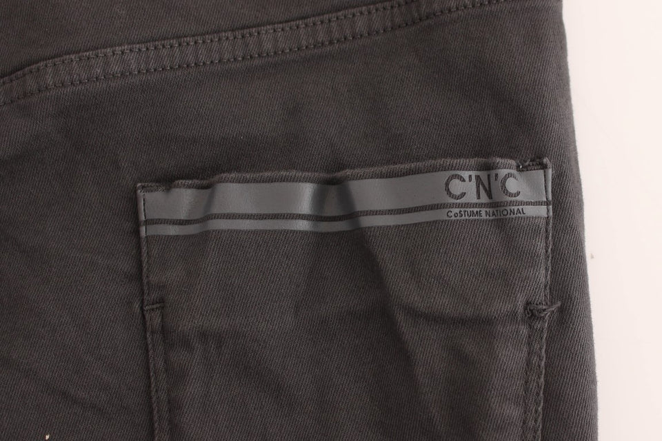 Gray cotton stretch slim fit jeans