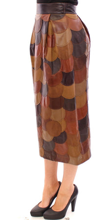 Brown Patchwork Leather Straight Skirt