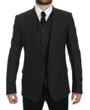 Gray Slim Fit Linen Blazer Jacket