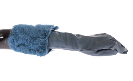 Blue Lambskin Leather Fur Logo Wrist Gloves